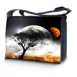 Laptop Padded Compartment Shoulder Messenger Bag Carrying Case & Matching Skin – Earth and Moon Eclipse