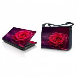 Laptop Padded Compartment Shoulder Messenger Bag Carrying Case & Matching Skin – Pink Rose Floral Flower
