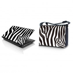 Laptop Padded Compartment Shoulder Messenger Bag Carrying Case & Matching Skin – Zebra Print