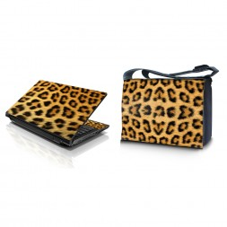 Laptop Padded Compartment Shoulder Messenger Bag Carrying Case & Matching Skin – Leopard Print