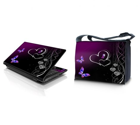 Laptop Padded Compartment Shoulder Messenger Bag Carrying Case & Matching Skin – Butterfly Heart Floral