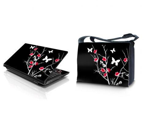 Laptop Padded Compartment Shoulder Messenger Bag Carrying Case & Matching Skin – Black Red Flowers Butterfly
