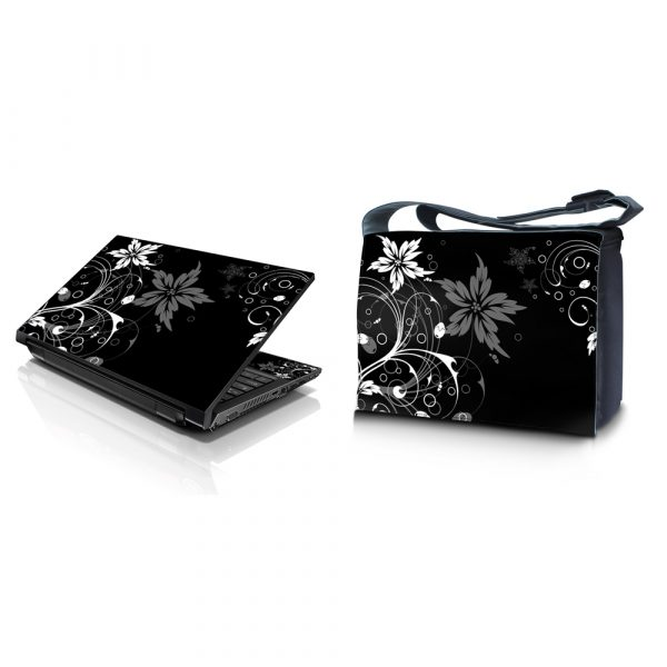Laptop Padded Compartment Shoulder Messenger Bag Carrying Case & Matching Skin – Black and White Floral