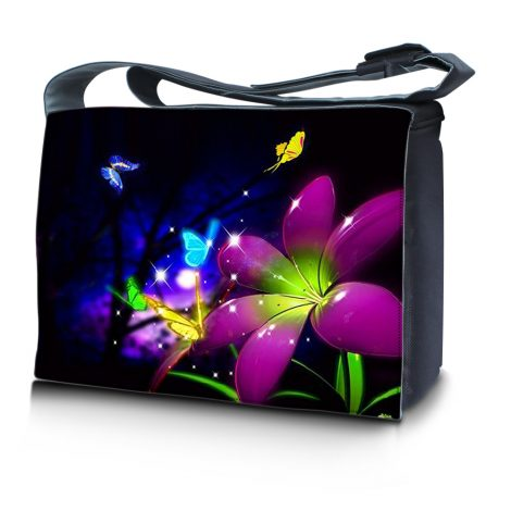 Laptop Padded Compartment Shoulder Messenger Bag Carrying Case & Matching Skin – Purple Blue Floral