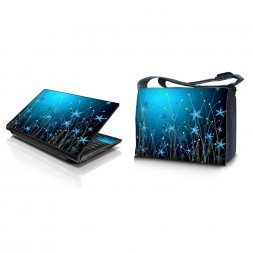 Laptop Padded Compartment Shoulder Messenger Bag Carrying Case & Matching Skin – Blue Floral