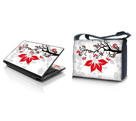 Laptop Padded Compartment Shoulder Messenger Bag Carrying Case & Matching Skin – White Grey Branches Floral