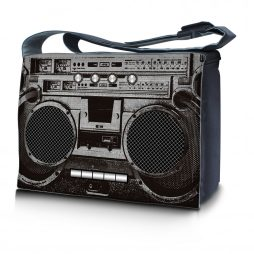 Laptop Padded Compartment Shoulder Messenger Bag Carrying Case & Matching Skin – Cassette Player Design