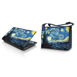 Laptop Padded Compartment Shoulder Messenger Bag Carrying Case & Matching Skin – Starry Night