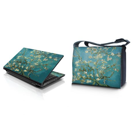 Laptop Padded Compartment Shoulder Messenger Bag Carrying Case & Matching Skin – Almond Trees