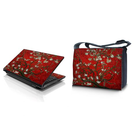 Laptop Padded Compartment Shoulder Messenger Bag Carrying Case & Matching Skin – Red Almond Trees