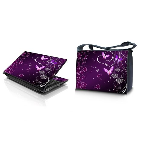 Laptop Padded Compartment Shoulder Messenger Bag Carrying Case & Matching Skin – Purple Heart Butterfly