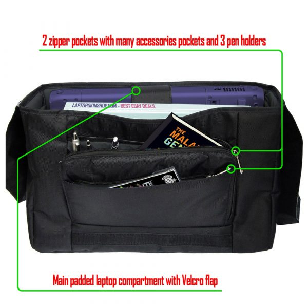Laptop Padded Compartment Shoulder Messenger Bag Carrying Case & Matching Skin & Mouse Pad – Butterfly Purple