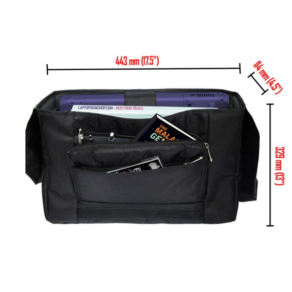 Laptop Padded Compartment Shoulder Messenger Bag Carrying Case & Matching Skin & Mouse Pad – Black and White Floral