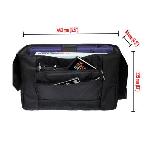 Laptop Padded Compartment Shoulder Messenger Bag Carrying Case & Matching Skin & Mouse Pad – Twilight Gray Black