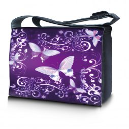 Laptop Padded Compartment Shoulder Messenger Bag Carrying Case & Matching Skin & Mouse Pad – Purple Butterfly