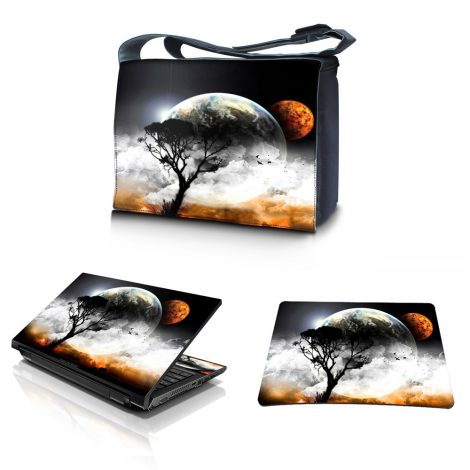 Laptop Padded Compartment Shoulder Messenger Bag Carrying Case & Matching Skin & Mouse Pad – Earth and Moon Eclipse