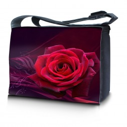 Laptop Padded Compartment Shoulder Messenger Bag Carrying Case & Matching Skin & Mouse Pad – Pink Rose Floral Flower