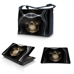Laptop Padded Compartment Shoulder Messenger Bag Carrying Case & Matching Skin & Mouse Pad – Hooded Dark Lord Skull