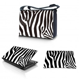 Laptop Padded Compartment Shoulder Messenger Bag Carrying Case & Matching Skin & Mouse Pad – Zebra Print