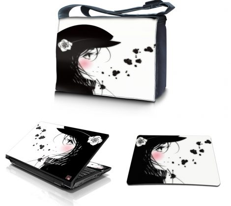 Laptop Padded Compartment Shoulder Messenger Bag Carrying Case & Matching Skin & Mouse Pad – Girl with White Rose