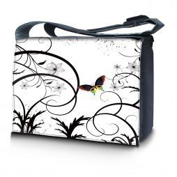 Laptop Padded Compartment Shoulder Messenger Bag Carrying Case & Matching Skin & Mouse Pad – White Butterfly Escape Floral