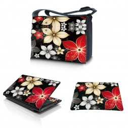 Laptop Padded Compartment Shoulder Messenger Bag Carrying Case & Matching Skin & Mouse Pad – Black Gray Red Flower Leaves