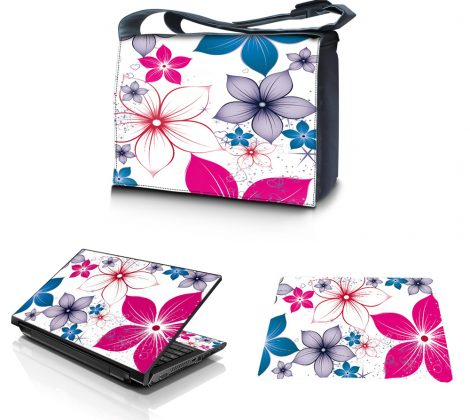 Laptop Padded Compartment Shoulder Messenger Bag Carrying Case & Matching Skin & Mouse Pad – White Pink Blue Flower Leaves