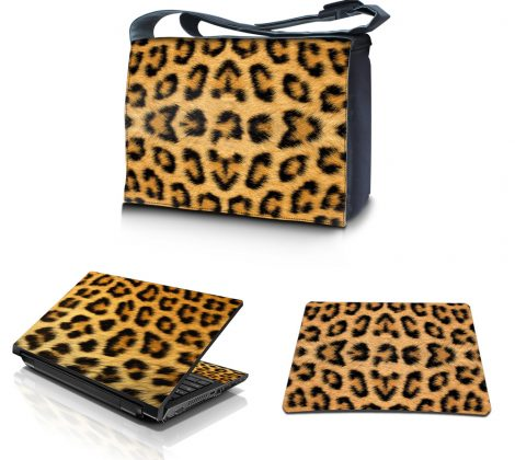 Laptop Padded Compartment Shoulder Messenger Bag Carrying Case & Matching Skin & Mouse Pad – Leopard Print