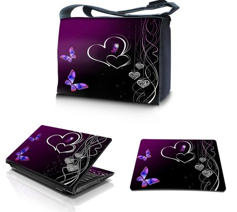 Laptop Padded Compartment Shoulder Messenger Bag Carrying Case & Matching Skin & Mouse Pad – Butterfly Heart Floral