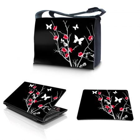 Laptop Padded Compartment Shoulder Messenger Bag Carrying Case & Matching Skin & Mouse Pad – Black Red Flowers Butterfly