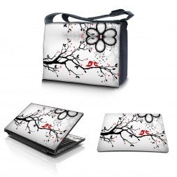 Laptop Padded Compartment Shoulder Messenger Bag Carrying Case & Matching Skin & Mouse Pad – Love Birds