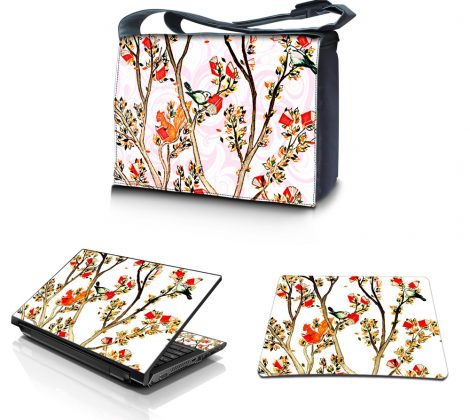 Laptop Padded Compartment Shoulder Messenger Bag Carrying Case & Matching Skin & Mouse Pad – Birds and Animals on Branches Love