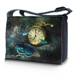 Laptop Padded Compartment Shoulder Messenger Bag Carrying Case & Matching Skin & Mouse Pad – Clock Butterfly Floral