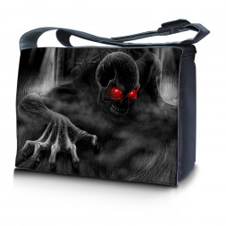 Laptop Padded Compartment Shoulder Messenger Bag Carrying Case & Matching Skin & Mouse Pad – Dark Ghost Zhombie Skull