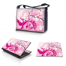 Laptop Padded Compartment Shoulder Messenger Bag Carrying Case & Matching Skin & Mouse Pad – Pink Birds Floral