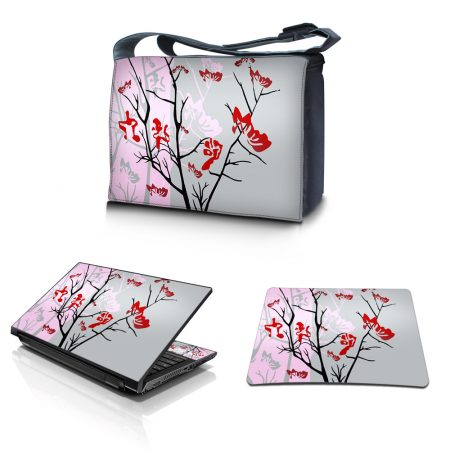 Laptop Padded Compartment Shoulder Messenger Bag Carrying Case & Matching Skin & Mouse Pad – Pink Gray