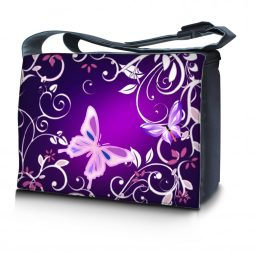 Laptop Padded Compartment Shoulder Messenger Bag Carrying Case & Matching Skin & Mouse Pad – Purple Butterfly Floral