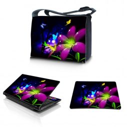 Laptop Padded Compartment Shoulder Messenger Bag Carrying Case & Matching Skin & Mouse Pad – Purple Blue Floral