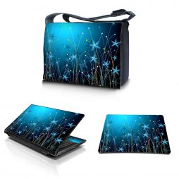 Laptop Padded Compartment Shoulder Messenger Bag Carrying Case & Matching Skin & Mouse Pad – Blue Floral
