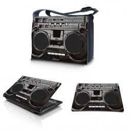 Laptop Padded Compartment Shoulder Messenger Bag Carrying Case & Matching Skin & Mouse Pad – Cassette Player Design