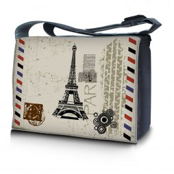 Laptop Padded Compartment Shoulder Messenger Bag Carrying Case & Matching Skin & Mouse Pad – Paris Design