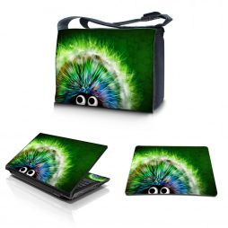 Laptop Padded Compartment Shoulder Messenger Bag Carrying Case & Matching Skin & Mouse Pad – Hedgehog