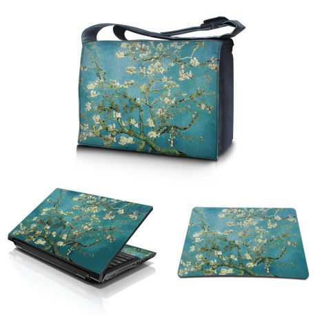 Laptop Padded Compartment Shoulder Messenger Bag Carrying Case & Matching Skin & Mouse Pad – Almond Trees