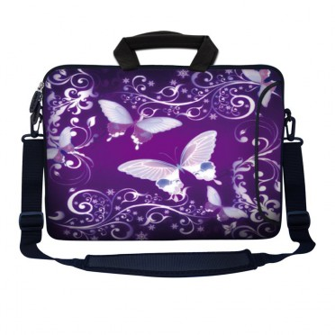 Laptop Sleeve Carrying Case w/ Removable Shoulder Strap - Purple Butterfly