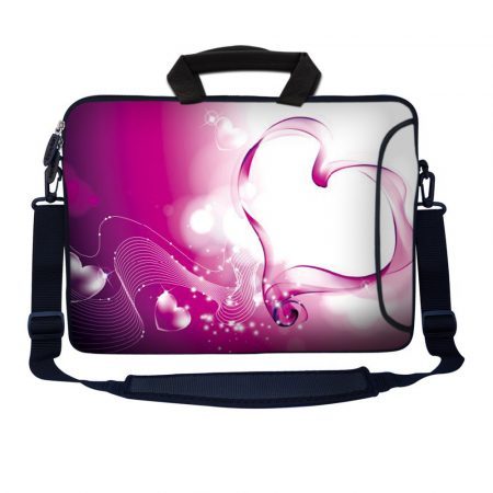 Laptop Sleeve Carrying Case w/ Removable Shoulder Strap - Pink Heart