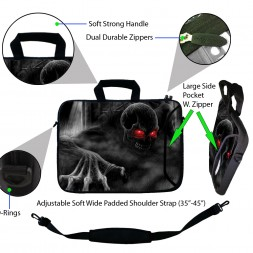 Laptop Sleeve Carrying Case w/ Removable Shoulder Strap - Red Eye Dark Ghost Zombie Skull