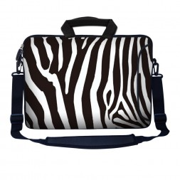 Laptop Sleeve Carrying Case w/ Removable Shoulder Strap - Zebra Print