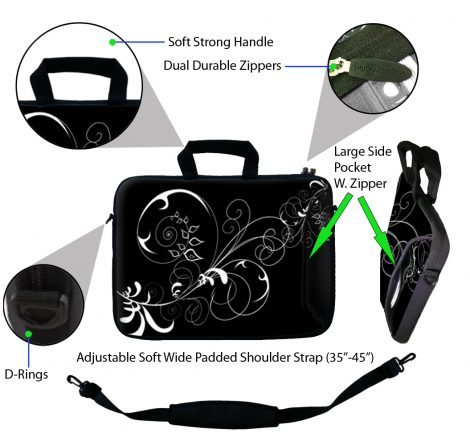 Laptop Sleeve Carrying Case w/ Removable Shoulder Strap - Vines Black and White Swirl Floral