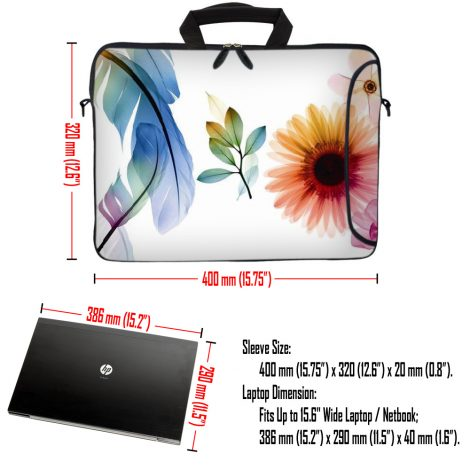 Laptop Sleeve Carrying Case w/ Removable Shoulder Strap - Daisy Flower Leaves Floral