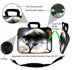 Laptop Sleeve Carrying Case w/ Removable Shoulder Strap - Earth and Moon Eclipse